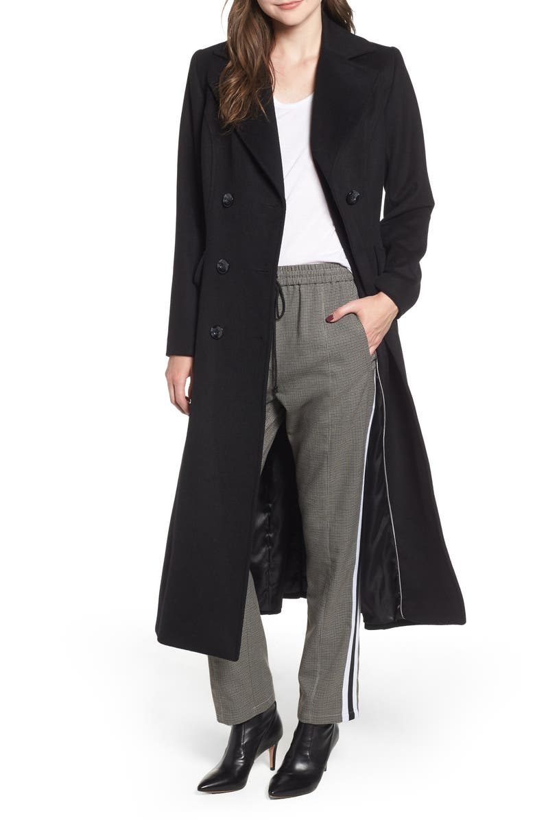 KRISTEN BLAKE Double Breasted Long Wool Coat, Main, color, 001