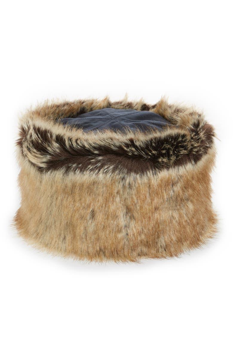 BARBOUR Ambush Faux Fur Hat, Main, color, 400