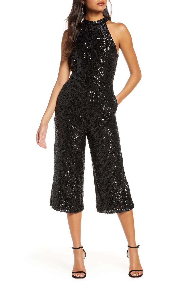 FOREST LILY Crop Sequin Jumpsuit, Main, color, BLACK