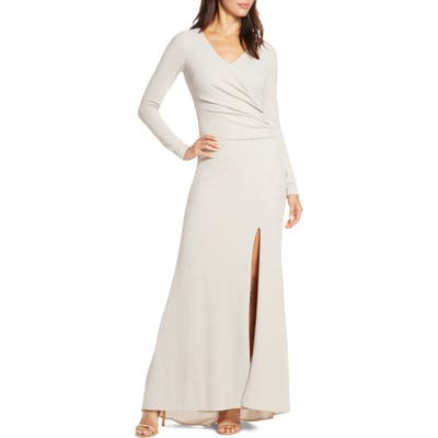 Vince Camuto Long Sleeve Ruched Gown, Beige