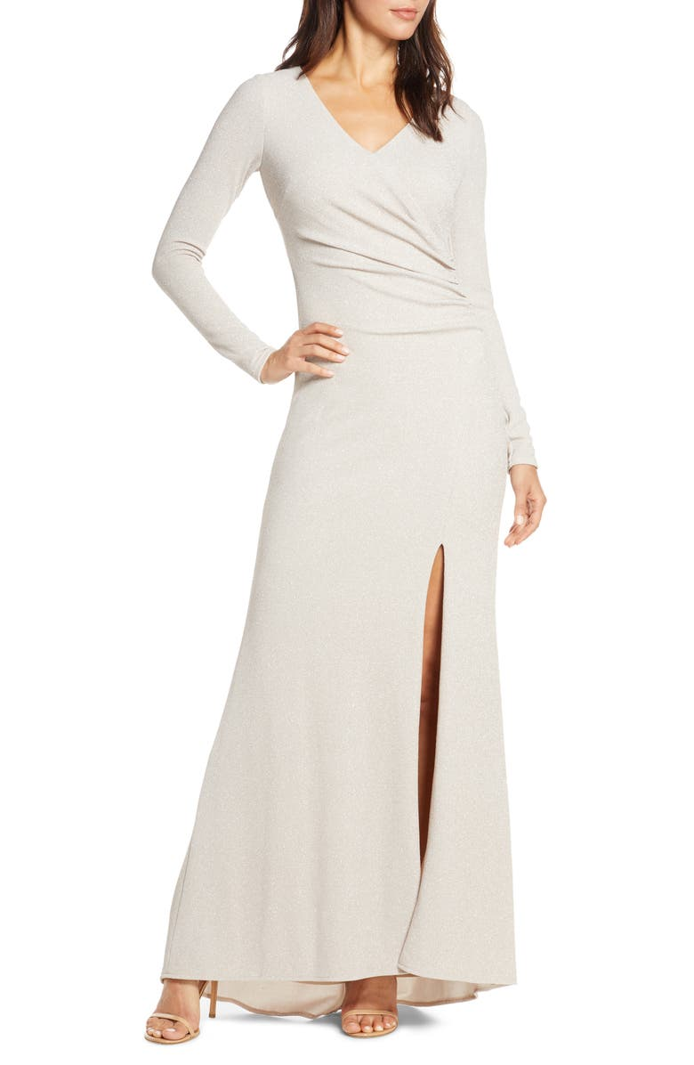 VINCE CAMUTO Long Sleeve Ruched Gown, Main, color, CHAMPAGNE