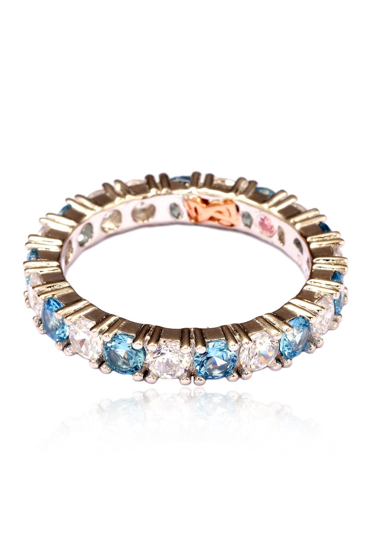 Image of Suzy Levian Sterling Silver CZ Aqua Blue Alternating Eternity Band Ring