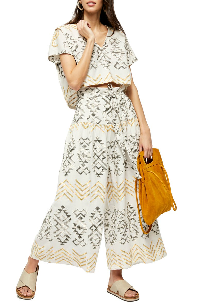 FREE PEOPLE Toluca Embroidered Crop Top & Wide Leg Pants, Main, color, NEUTRAL COMBO