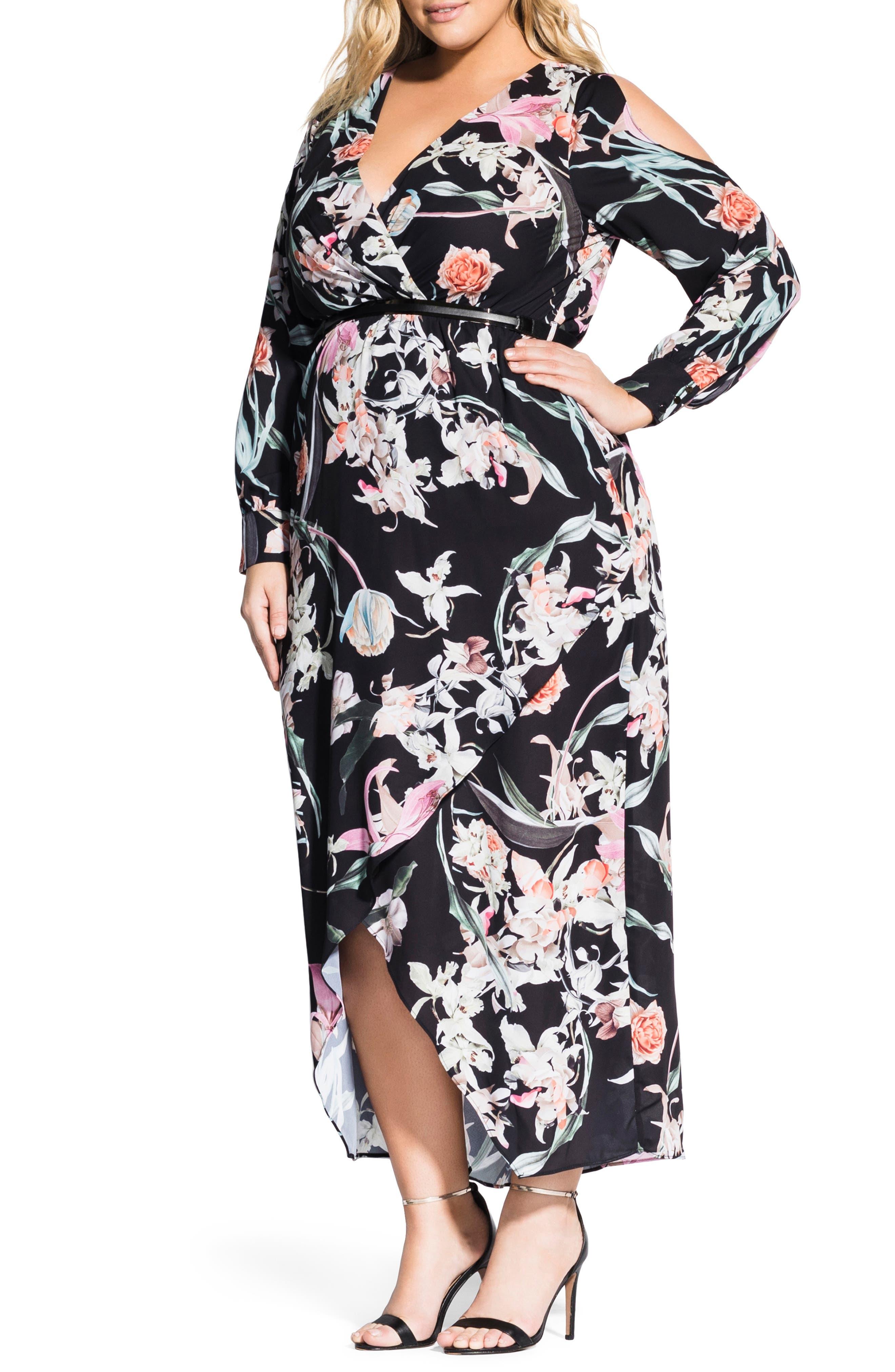Plus Size City Chic Midnight Floral Maxi Dress, Black