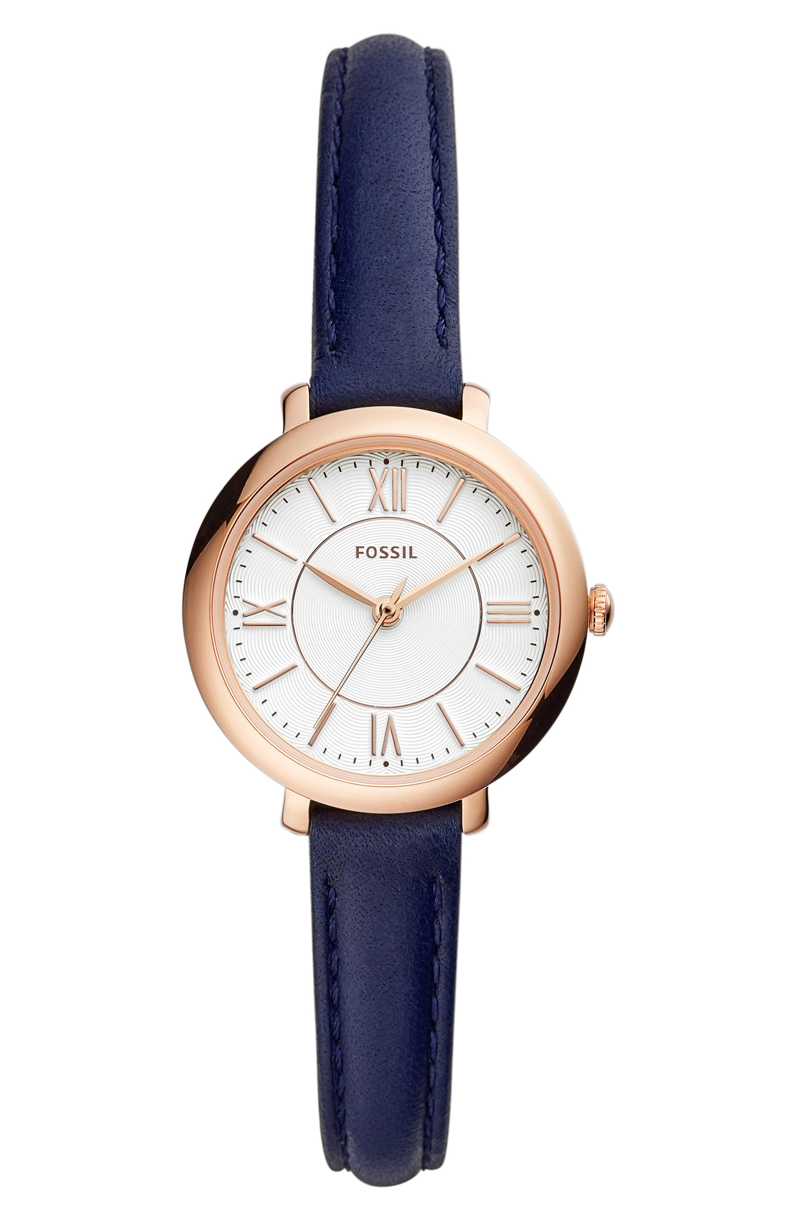,                             Mini Jacqueline Leather Strap Watch, 27mm,                             Main thumbnail 1, color,                             BLUE/ WHITE/ ROSE GOLD