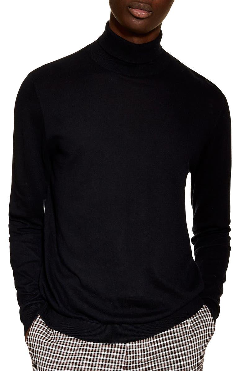 TOPMAN Classic Fit Turtleneck Sweater, Main, color, BLACK