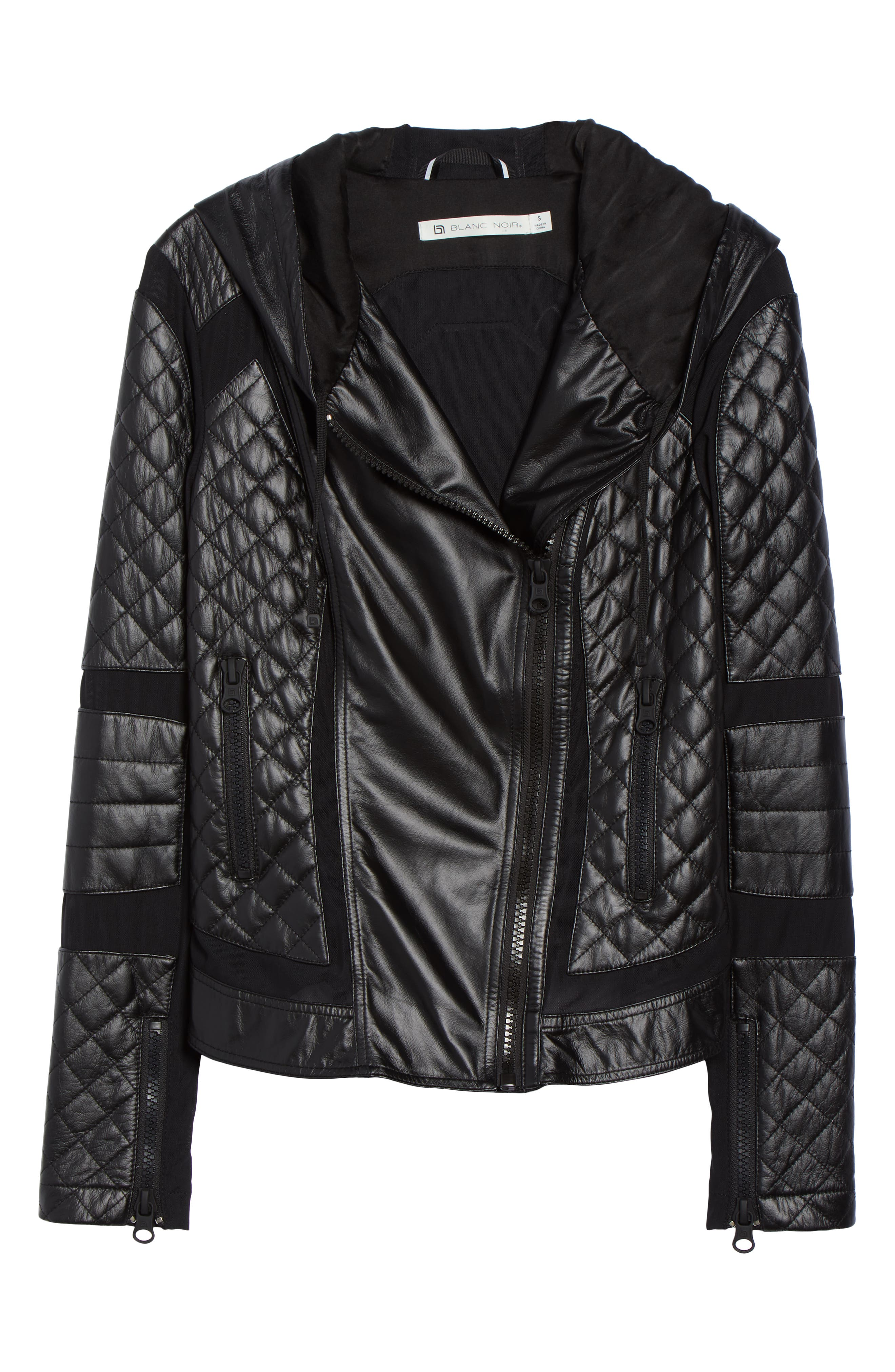 ,                             Voyage Hooded Leather & Mesh Moto Jacket,                             Alternate thumbnail 13, color,                             001