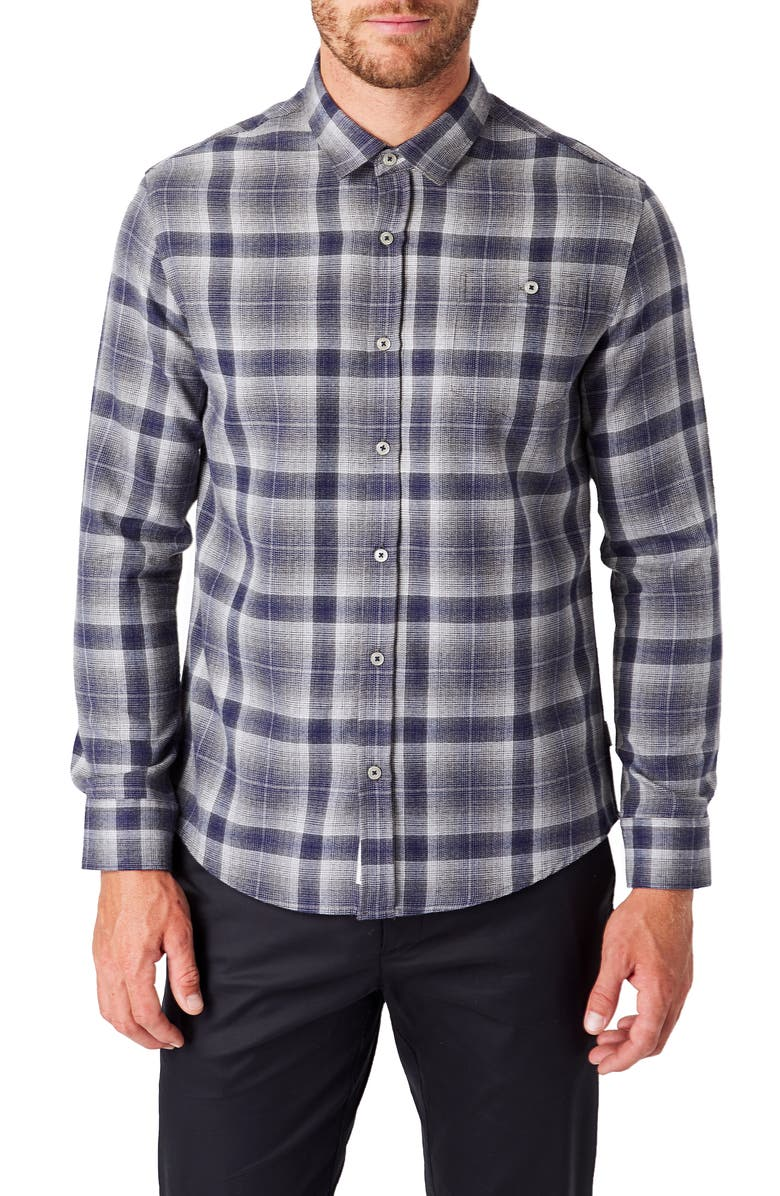 7 DIAMONDS Maxen Slim Fit Plaid Button-Up Shirt, Main, color, 020