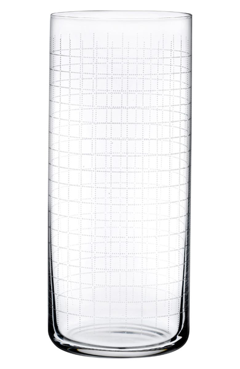 NUDE Finesse Grid Set of 4 Medium Highball Glasses, Main, color, CLEAR