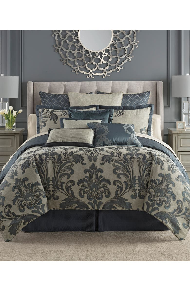 WATERFORD Everett Reversible Comforter, Sham & Bed Skirt Set, Main, color, TEAL