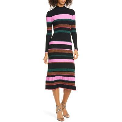 Tanya Taylor Velma Open Back Long Sleeve Sweater Dress, Black