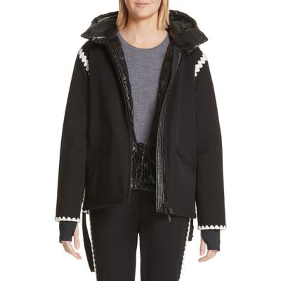 Moncler Bourget Embroidered Hooded Down Coat, Black