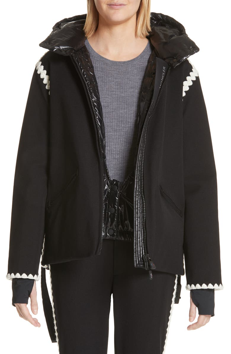MONCLER Bourget Embroidered Hooded Down Coat, Main, color, BLACK