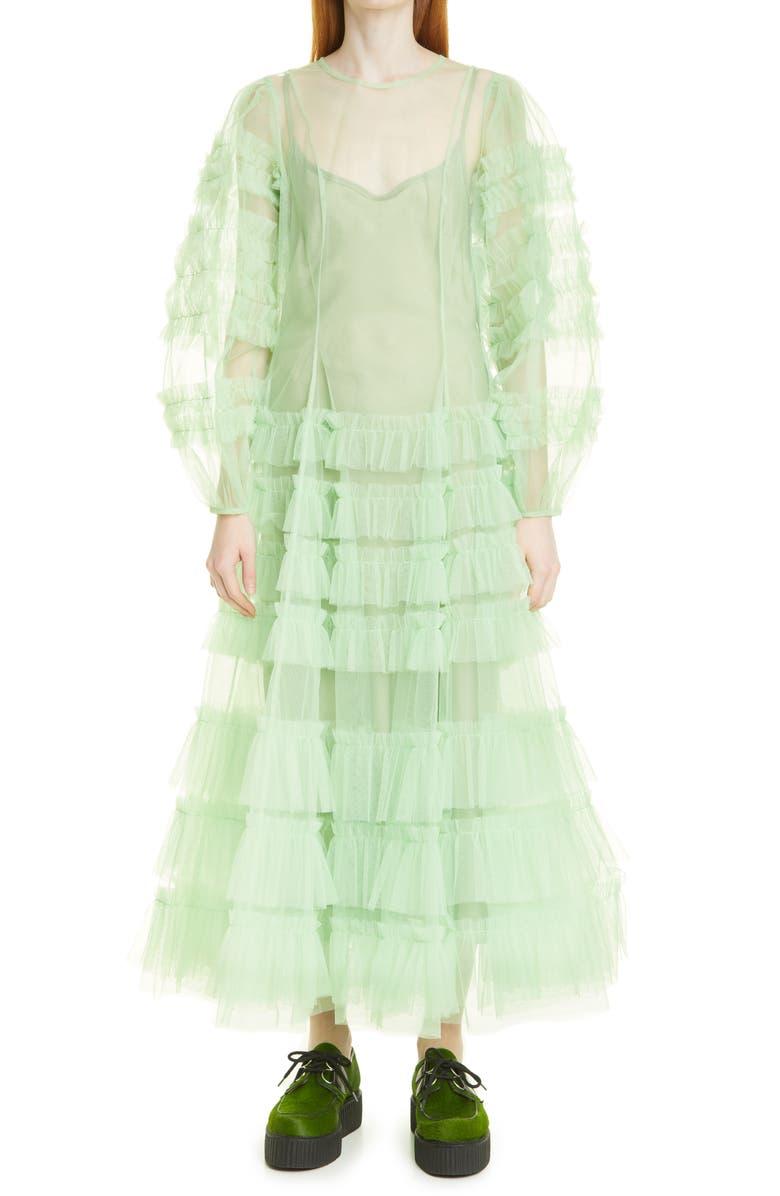 MOLLY GODDARD Kendi Frill Long Sleeve Ruffle Tulle Dress, Main, color, MINT GREEN