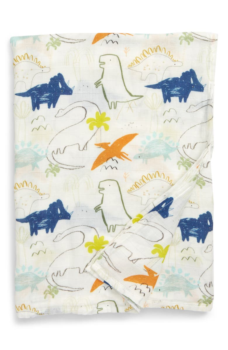 LOULOU LOLLIPOP Dinoland Deluxe Muslin Swaddle Blanket, Main, color, DINOLAND