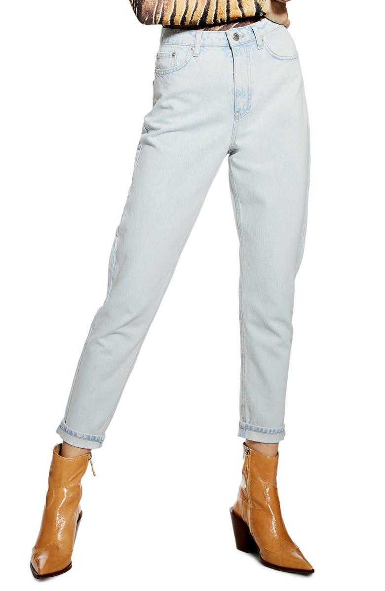 TOPSHOP Super Bleach Mom Jeans, Main, color, BLEACH