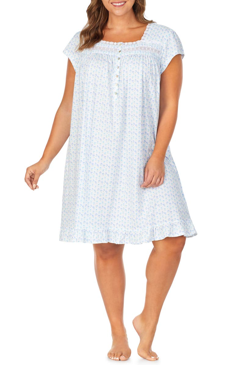 EILEEN WEST Ballet Nightgown, Main, color, WHITE GROUND WITH DAISY GEO