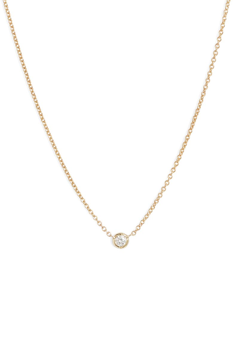 BONY LEVY Petite Bezel Diamond Solitaire Necklace, Main, color, YELLOW GOLD/ DIAMOND
