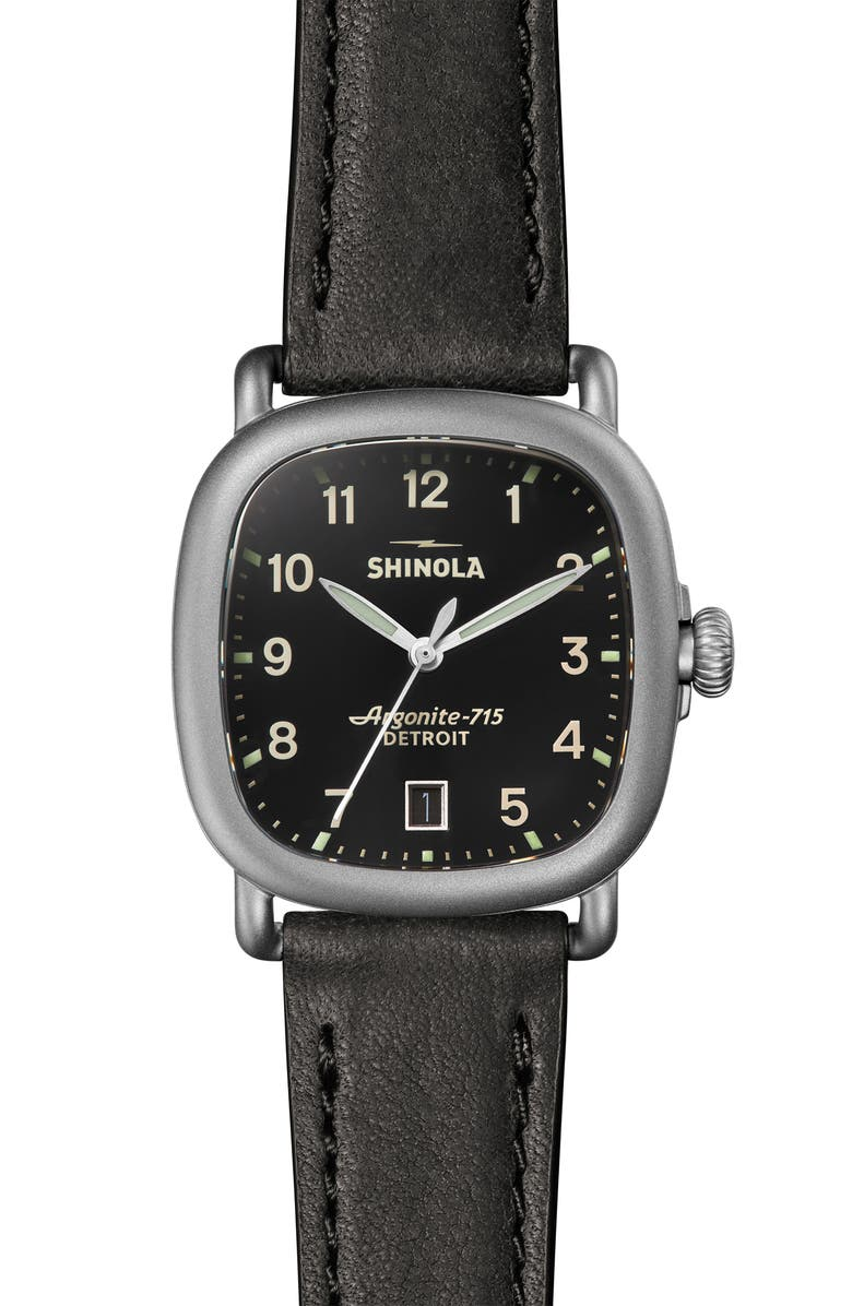 SHINOLA The Guardian Leather Strap Watch, 36mm, Main, color, BLACK/ SILVER