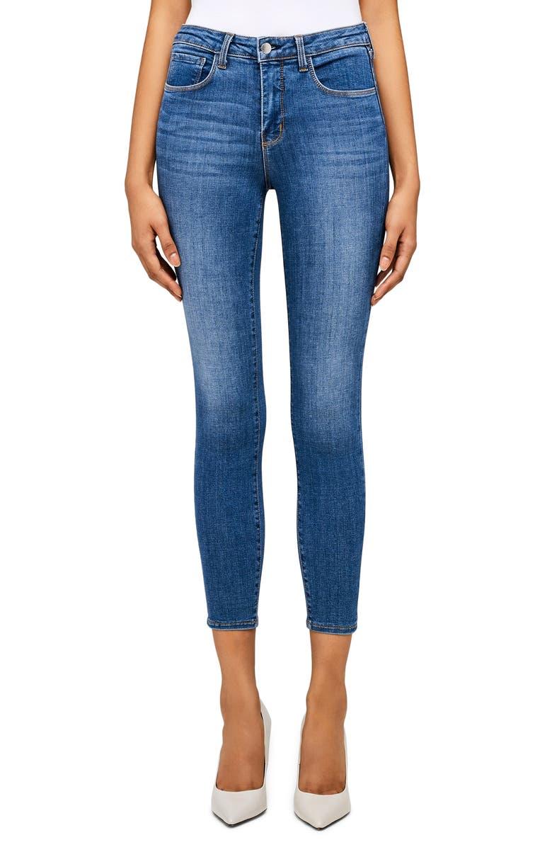 L'AGENCE Margot High Waist Crop Jeans, Main, color, LIGHT VINTAGE