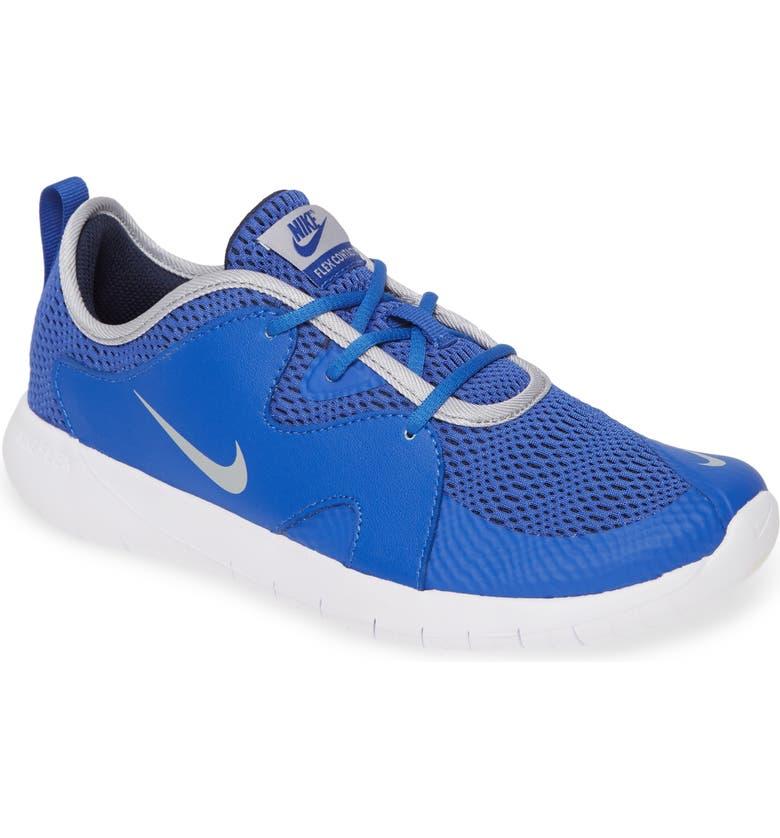 NIKE Flex Contact 3 GS Running Shoe, Main, color, MIDNIGHT NAVY/ VOLT-BLUE