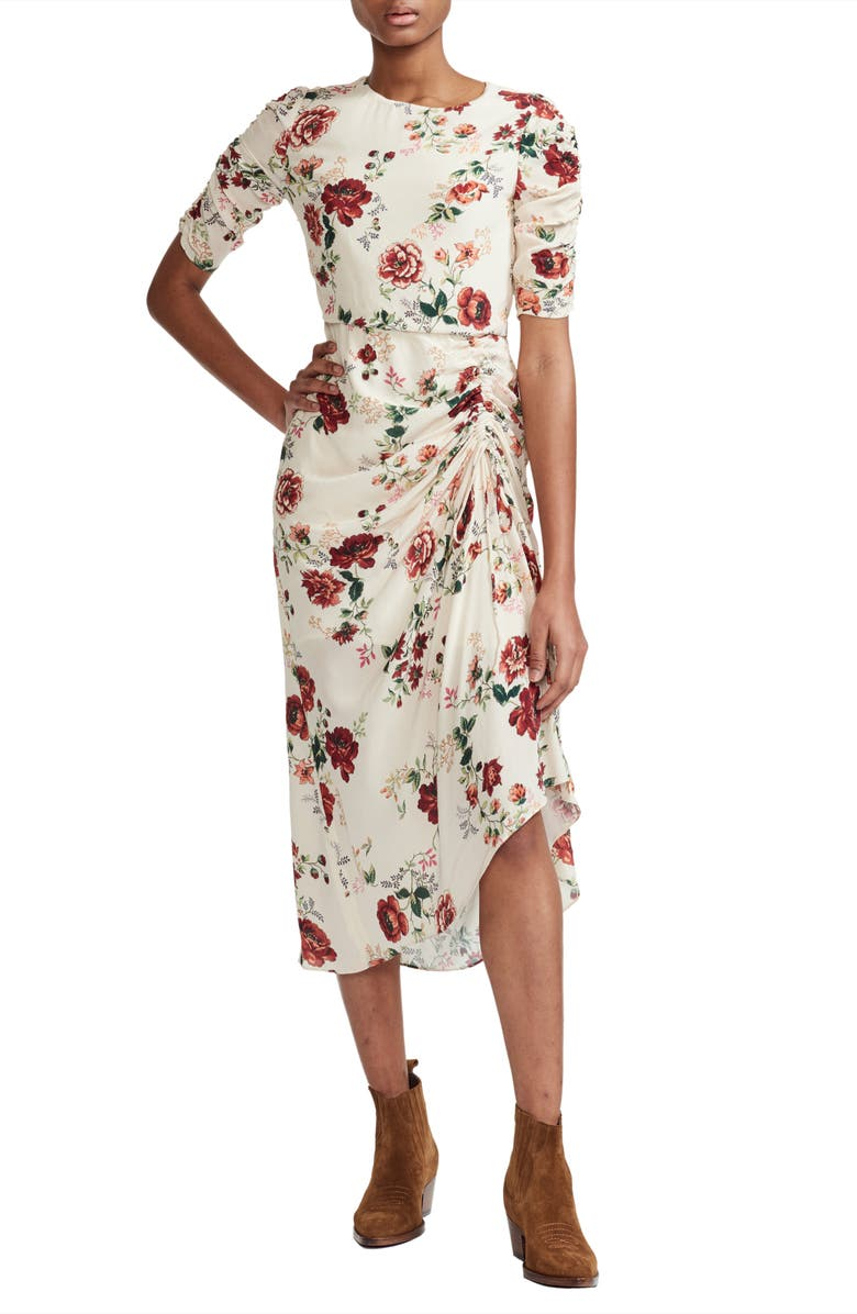 MAJE Rondi Floral Print Dress, Main, color, 100