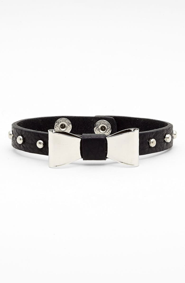 CARA Bow Detail Leather Bracelet, Main, color, 001