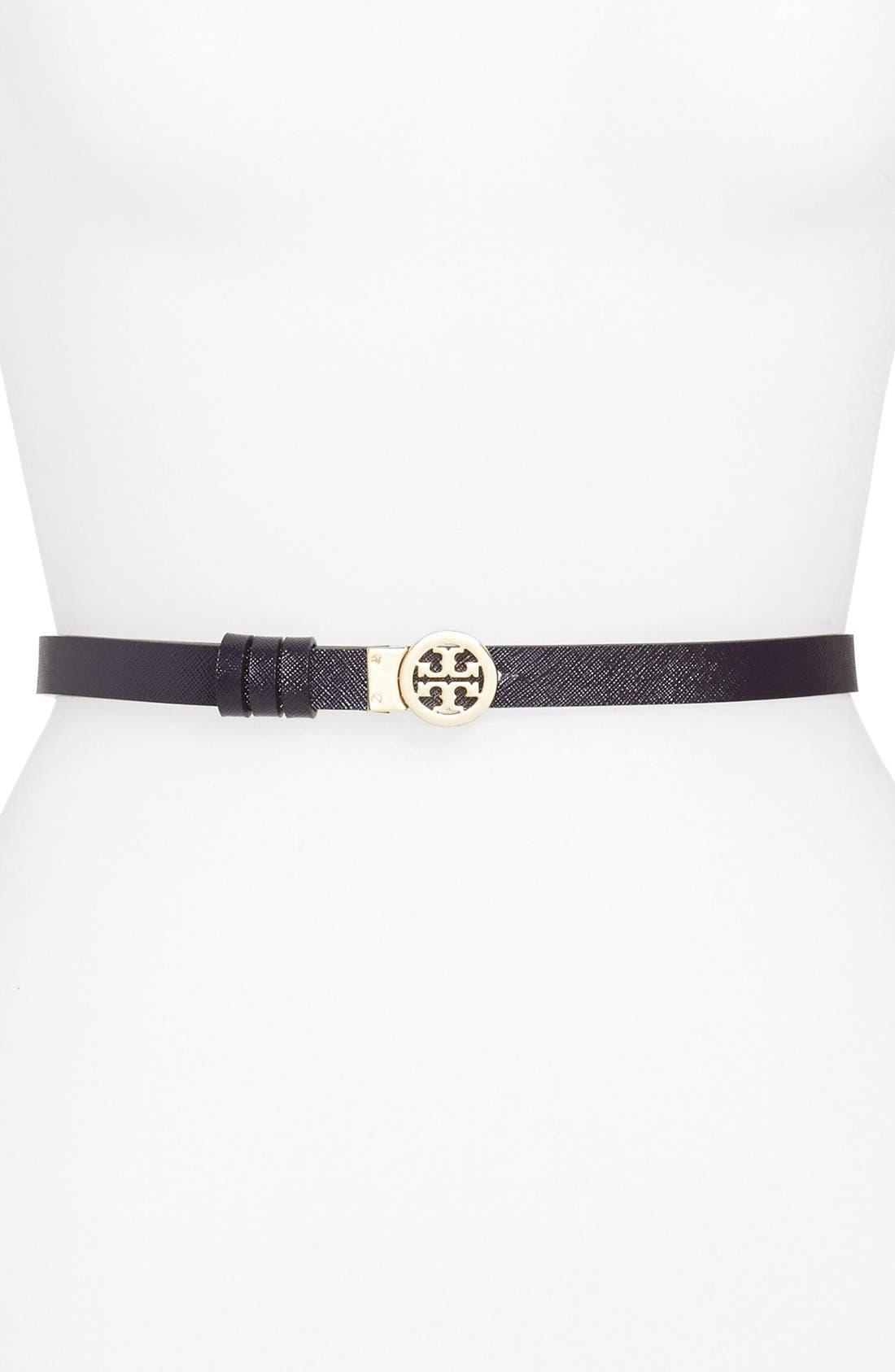 ,                             Rotating Logo Skinny Leather Belt,                             Alternate thumbnail 4, color,                             660