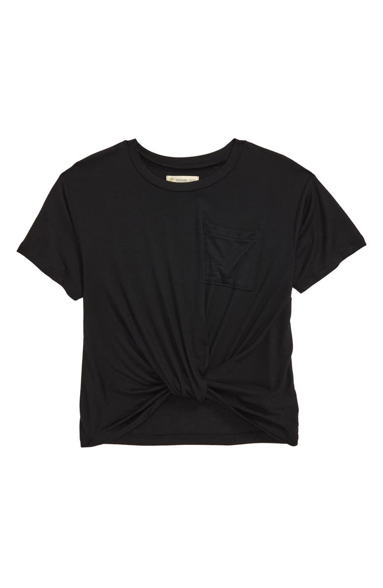 TUCKER + TATE Knot Front Tee, Main, color, BLACK