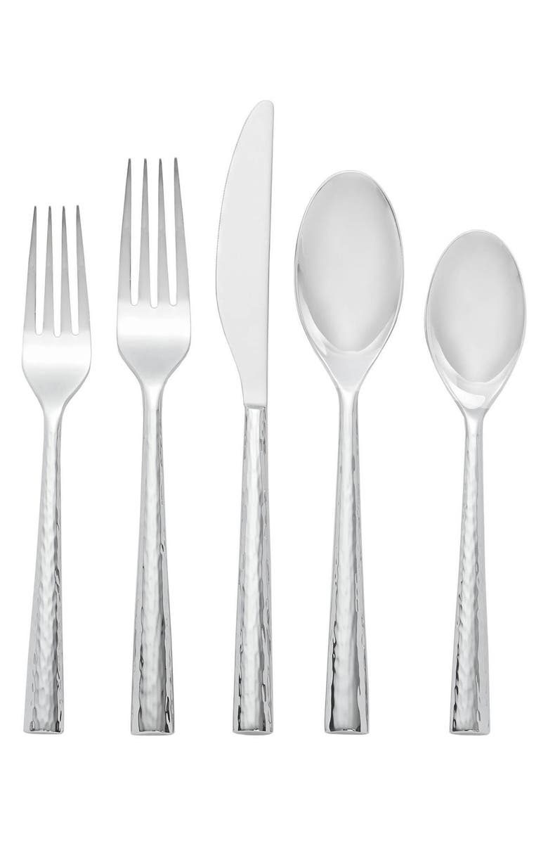 NAMBÉ Trace 5-Piece Flatware Place Setting, Main, color, SILVER