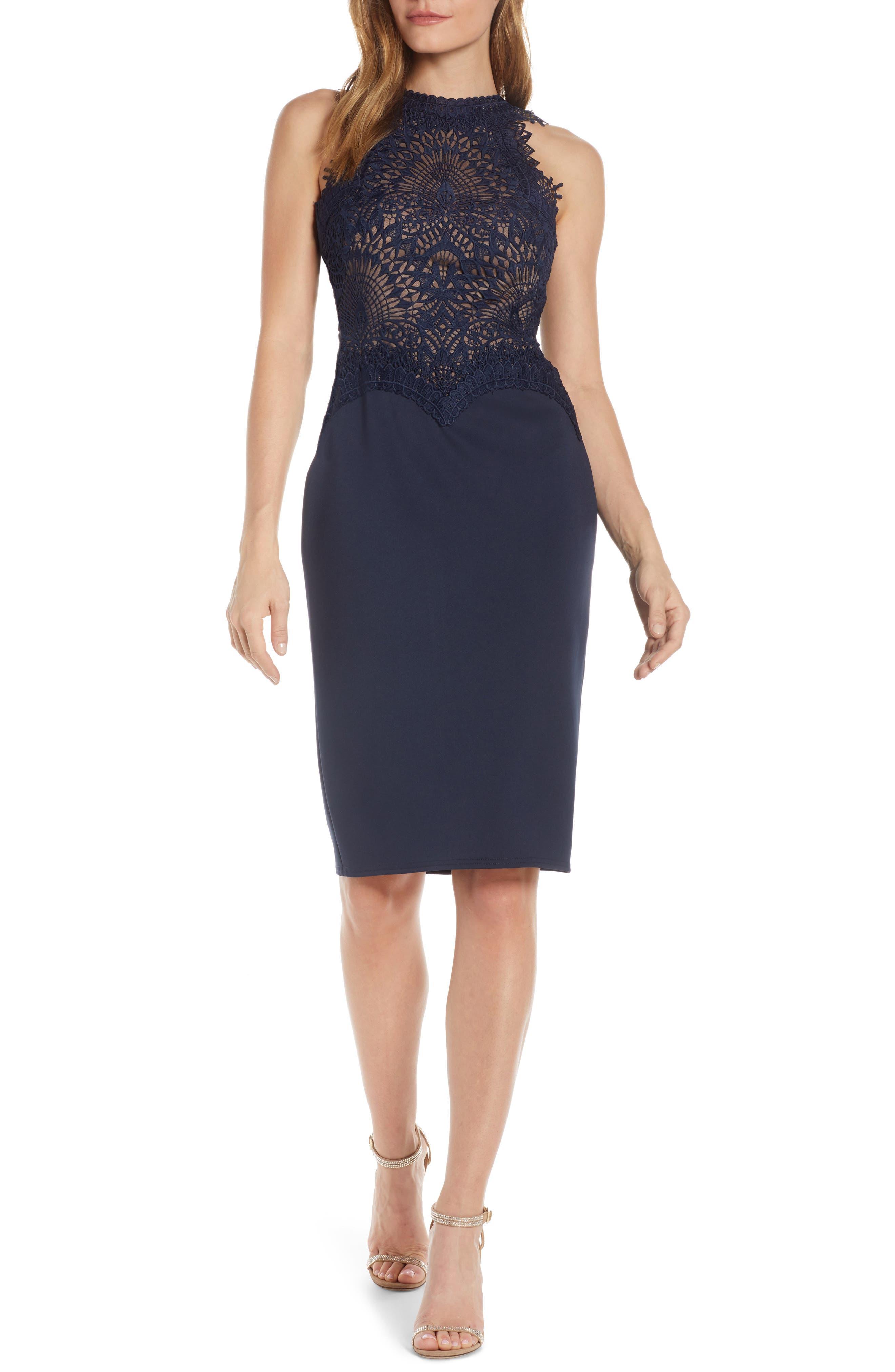 Tadashi Shoji Lace Bodice Sleeveless Dress, Blue
