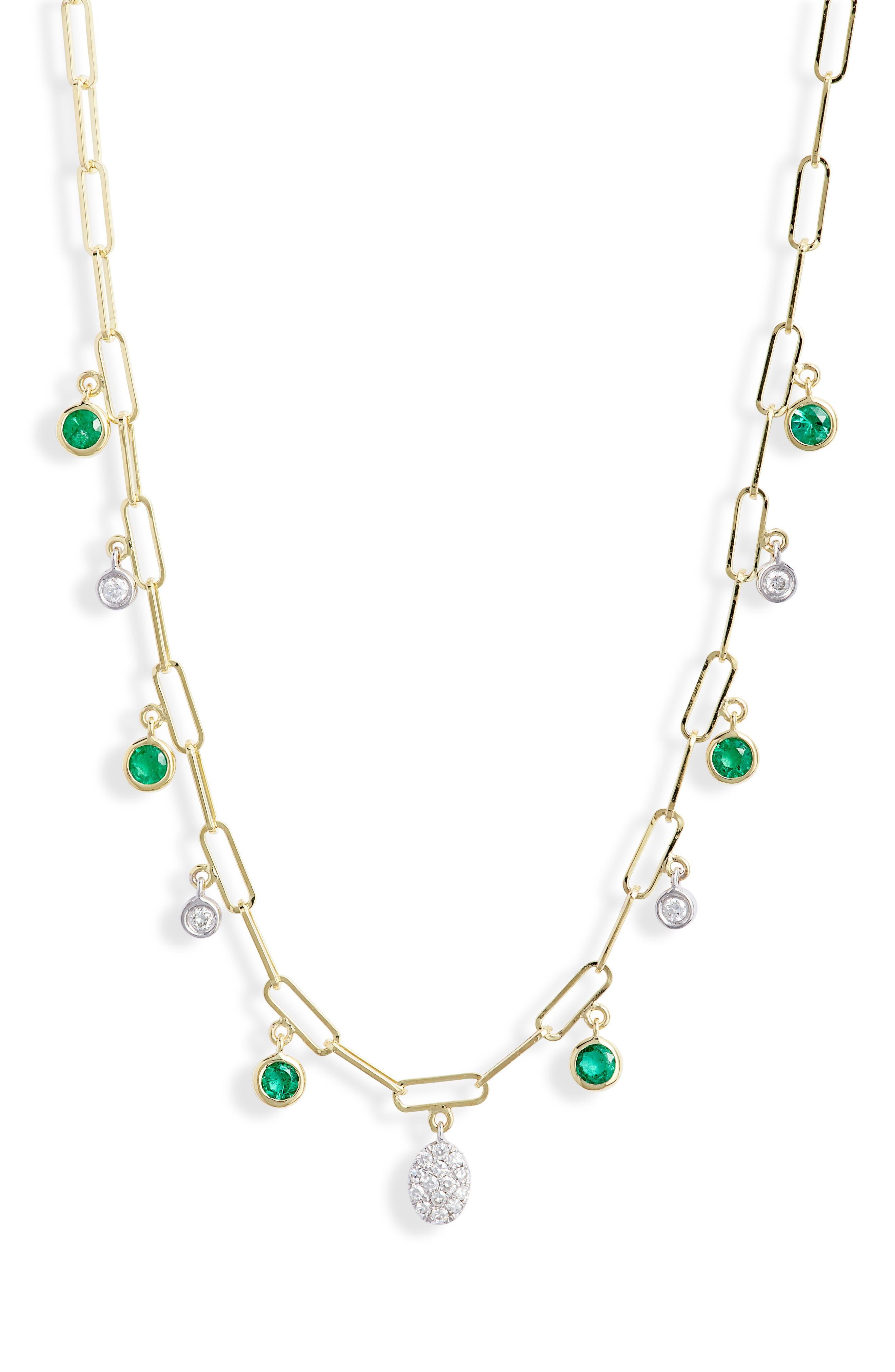 Diamond & Emerald Charm Necklace