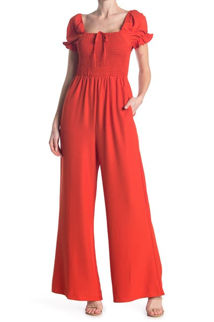 Image of MELLODAY Smocked Puff Sleeve Jumpsuit
