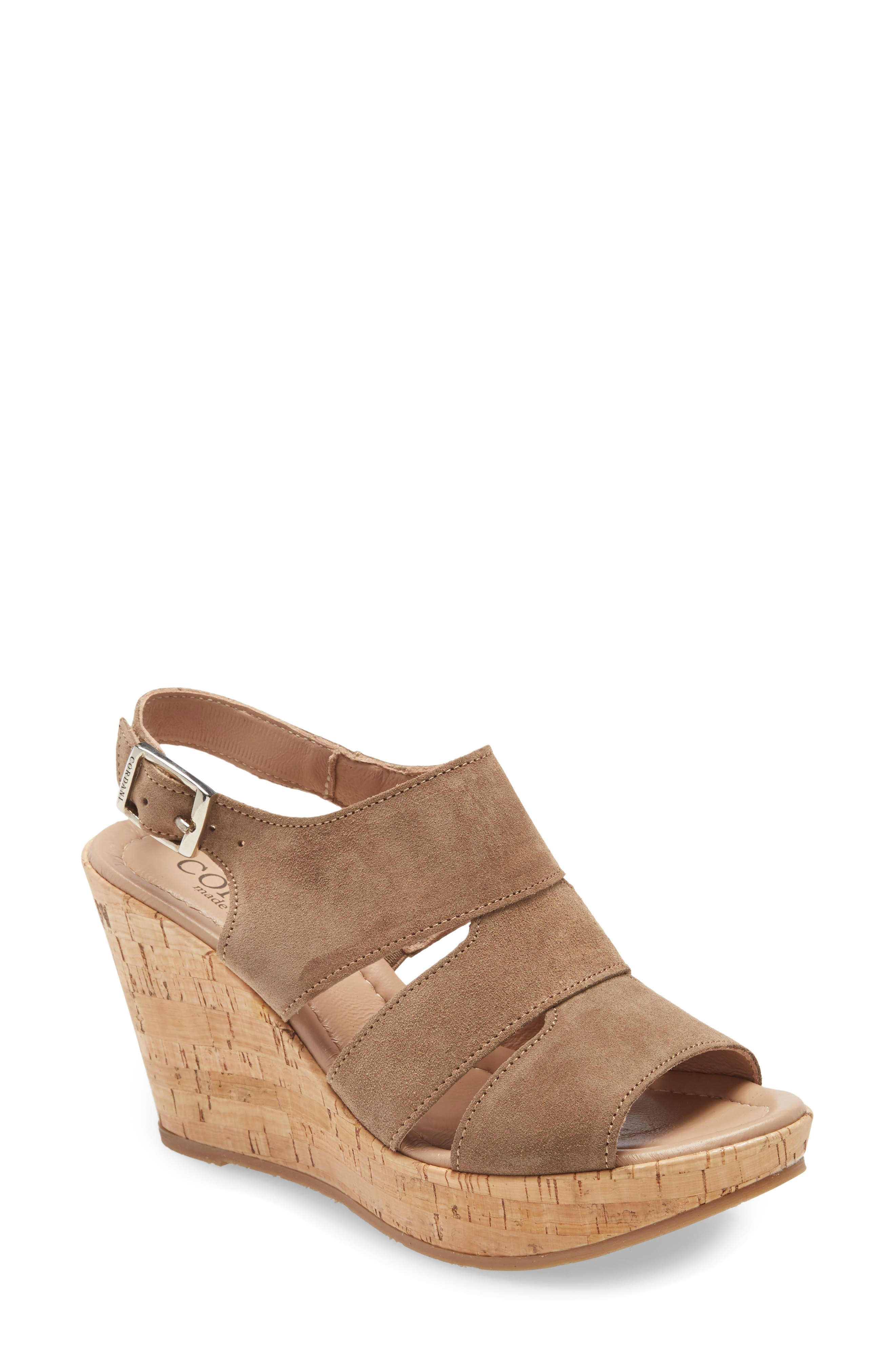 A cork platform wedge brings earthy texture and height to a strappy sandal fitted with a supremely cushioned footbed. Style Name: Cordani Rosie Platform Wedge Sandal (Women). Style Number: 5997332. Available in stores.