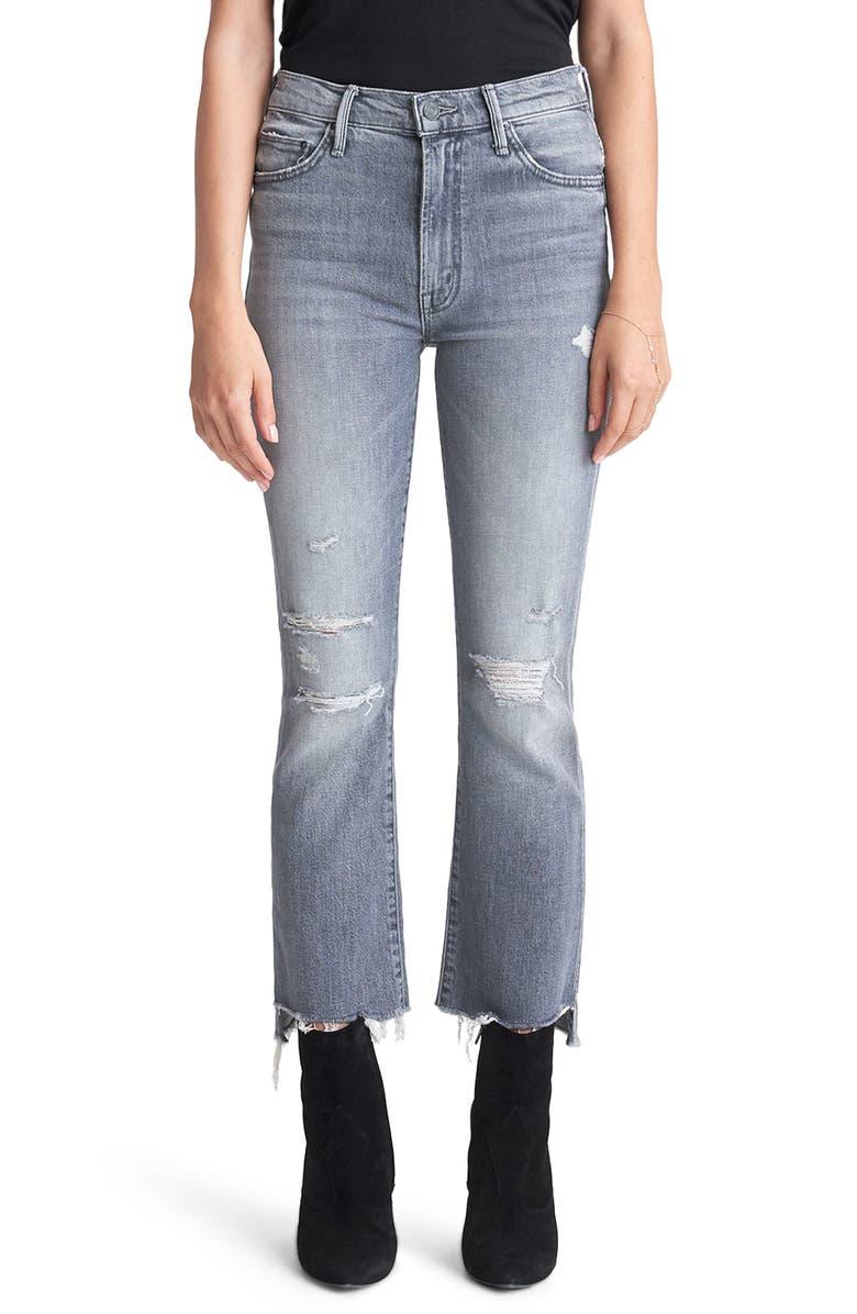 MOTHER Insider Distressed High Waist Crop Step Hem Jeans, Main, color, ACE OF SPADES