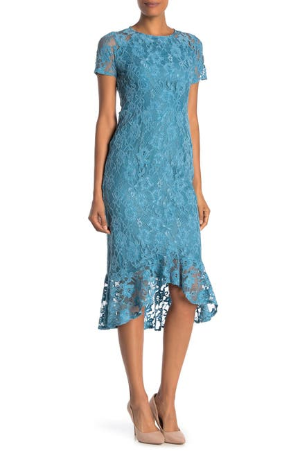 Image of Nanette Lepore Lace Ruffle High/Low Dress