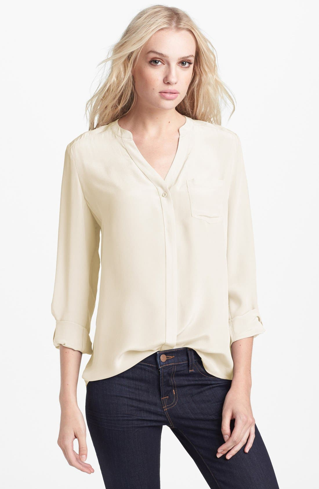 ,                             Collarless Silk Blouse,                             Main thumbnail 24, color,                             100