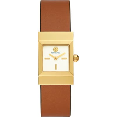 Tory Burch Leigh Leather Strap Watch, 2m