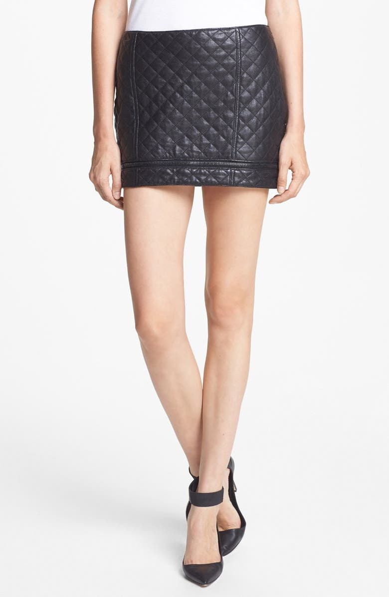 HAUTE HIPPIE Quilted Leather Miniskirt, Main, color, 001