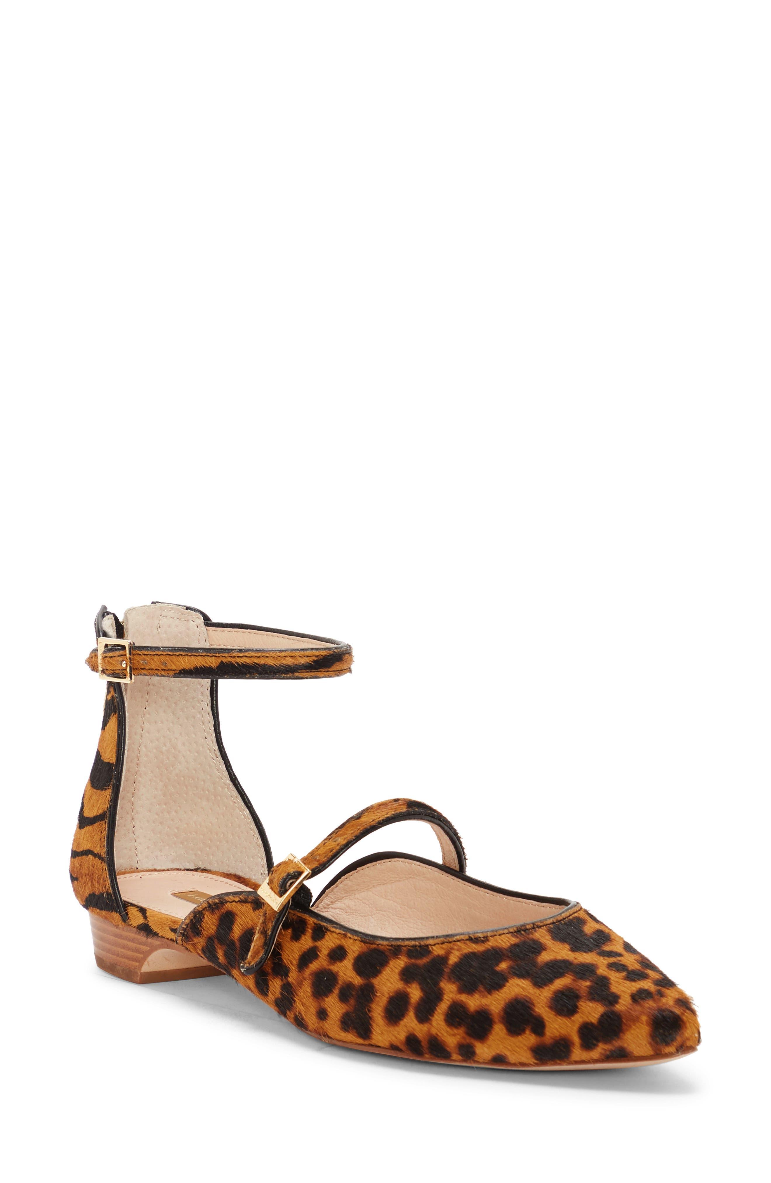 Louise Et Cie Claire Genuine Calf Hair Ankle Strap Flat, Brown