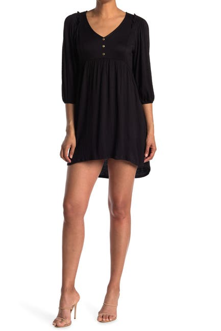 Image of KENEDIK Button Front Smocked Shoulder V-Neck Dress