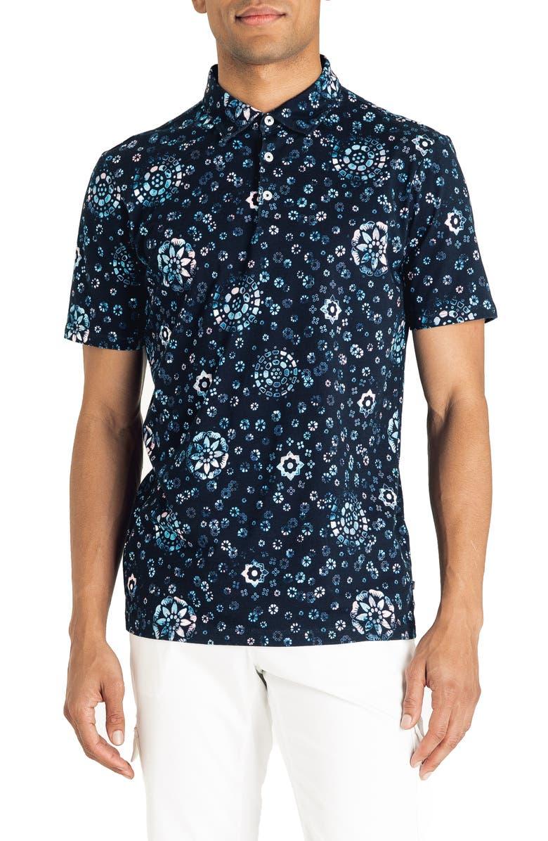 GOOD MAN BRAND Slim Fit Short Sleeve Floral Print Polo, Main, color, SKY CAPTAIN