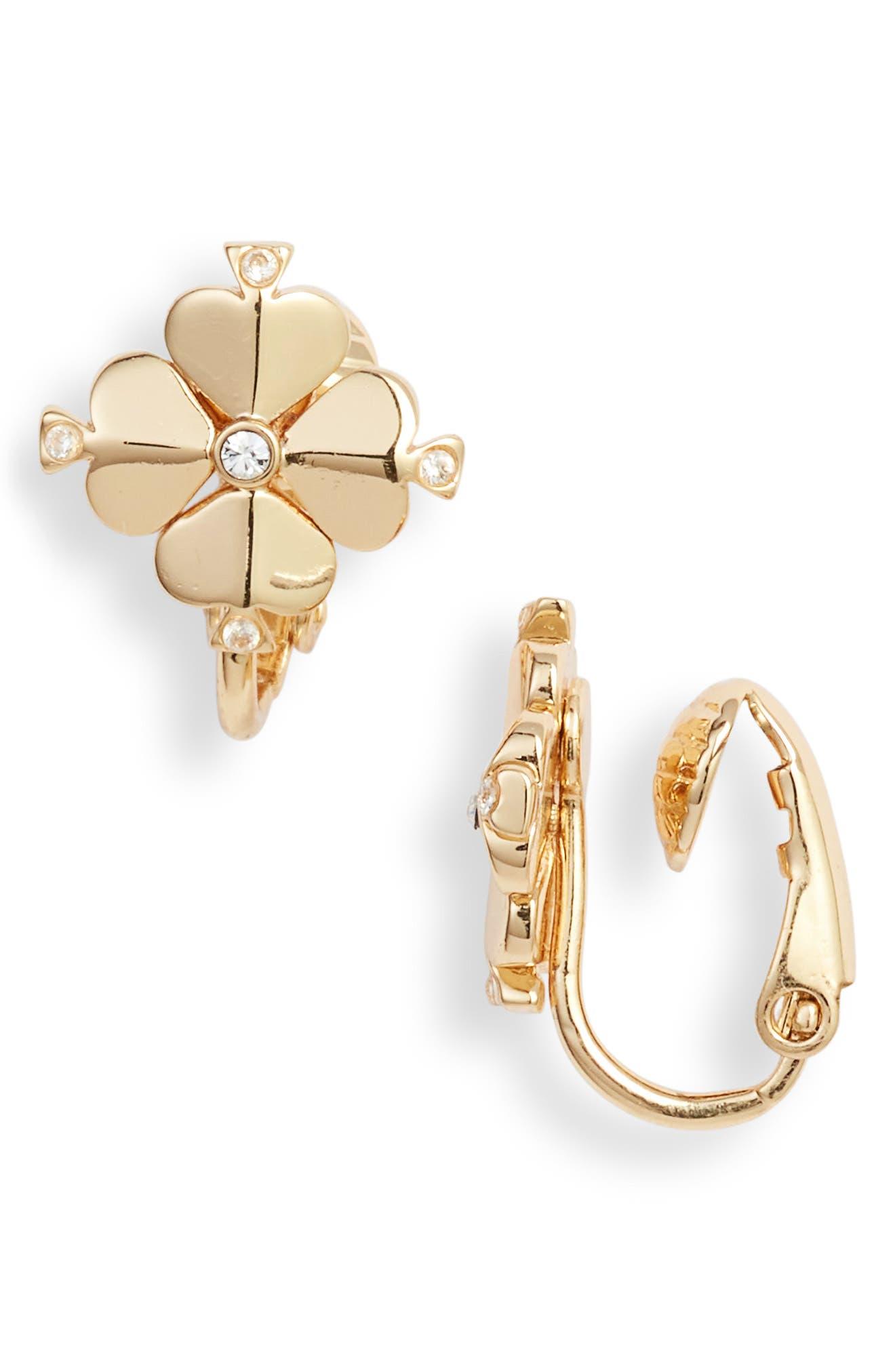 spade flower clip earrings, Main, color, 710