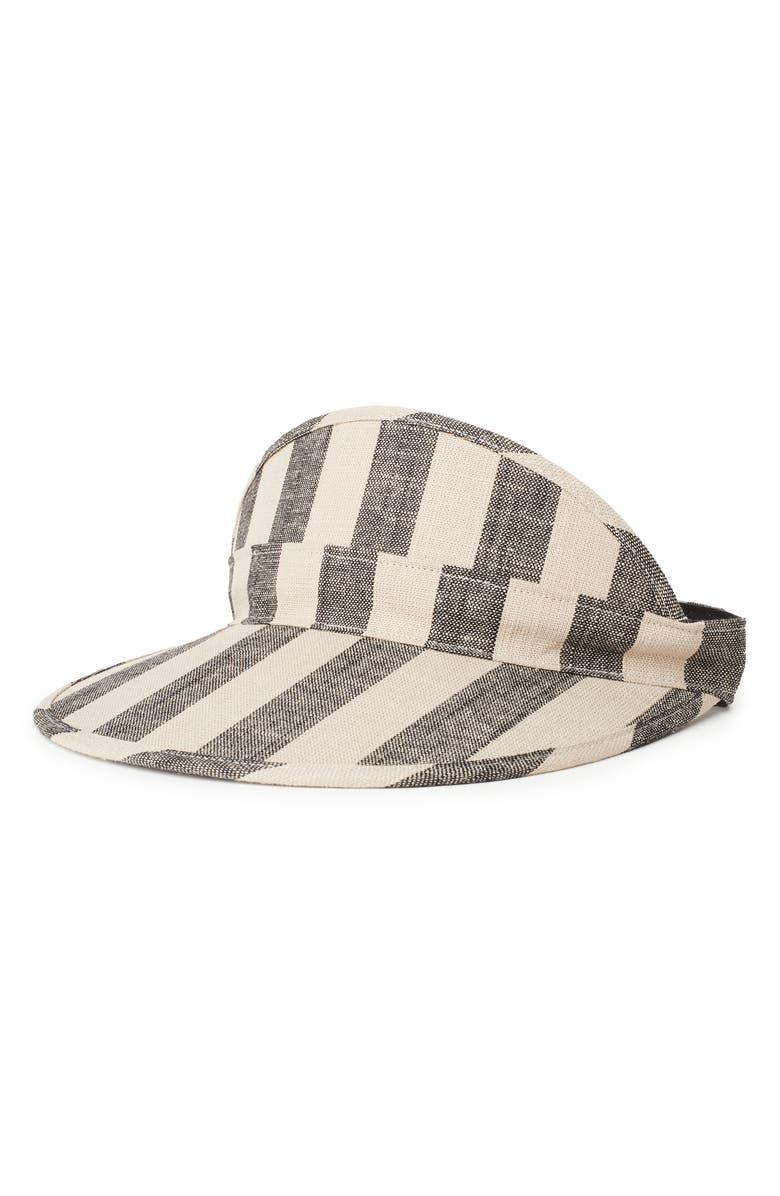 BRIXTON Monroe Stripe Linen Visor, Main, color, BLACK/ IVORY