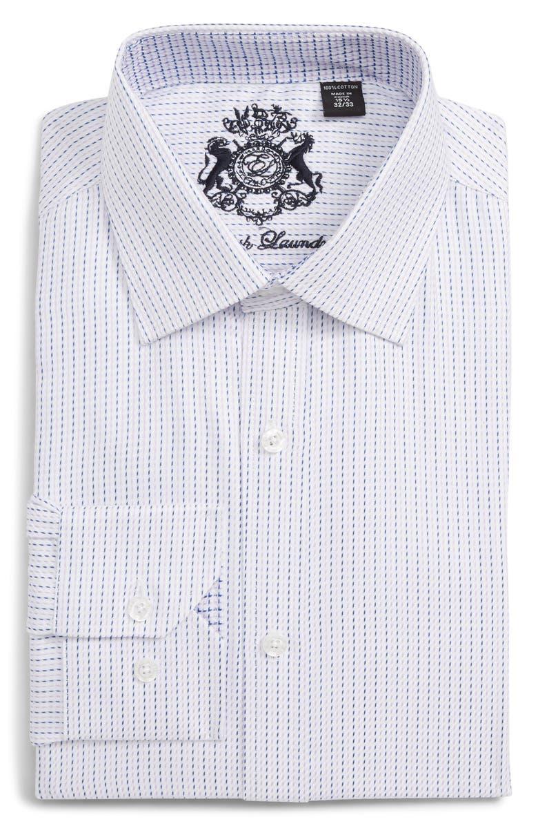 ENGLISH LAUNDRY Trim Fit Stripe Dress Shirt, Main, color, LAVENDER