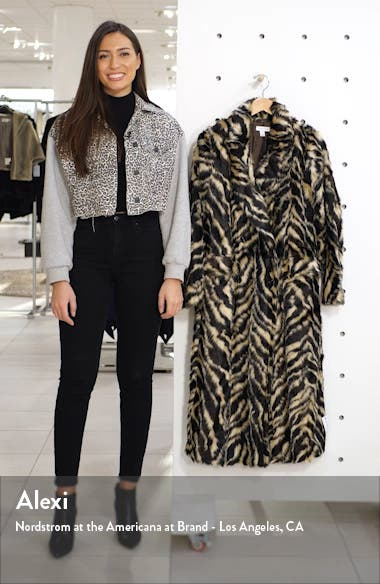 Toni Tiger Faux Fur Double Breasted Coat, sales video thumbnail