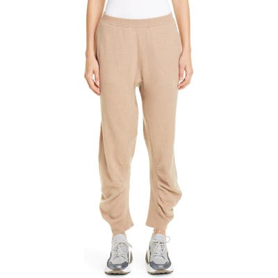 Stella Mccartney Tina Gathered Wool Jogger Sweater Pants, US / 46 IT - Beige