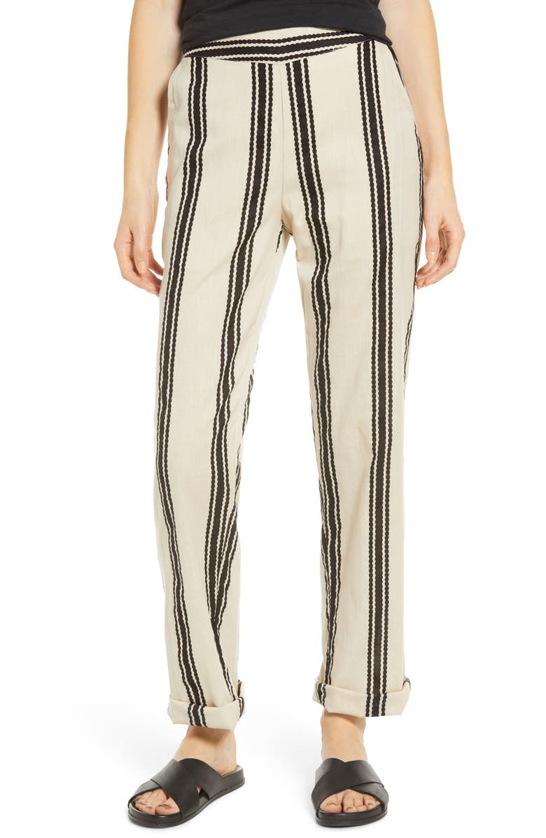 NOISY MAY Kelsie Cotton & Linen Pants, Main, color, ALMOND MILK