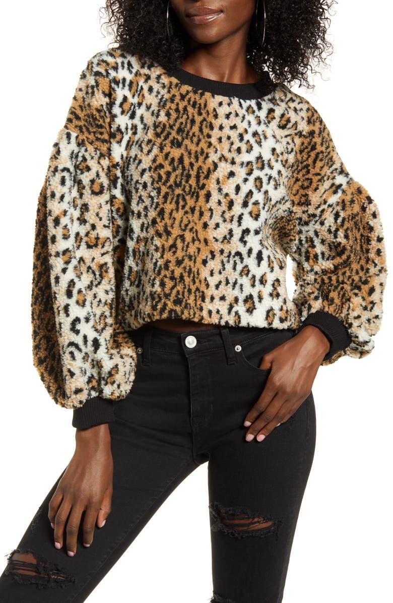 J.O.A. Puff Sleeve Leopard Print Fleece Top, Main, color, LEOPARD MULTI