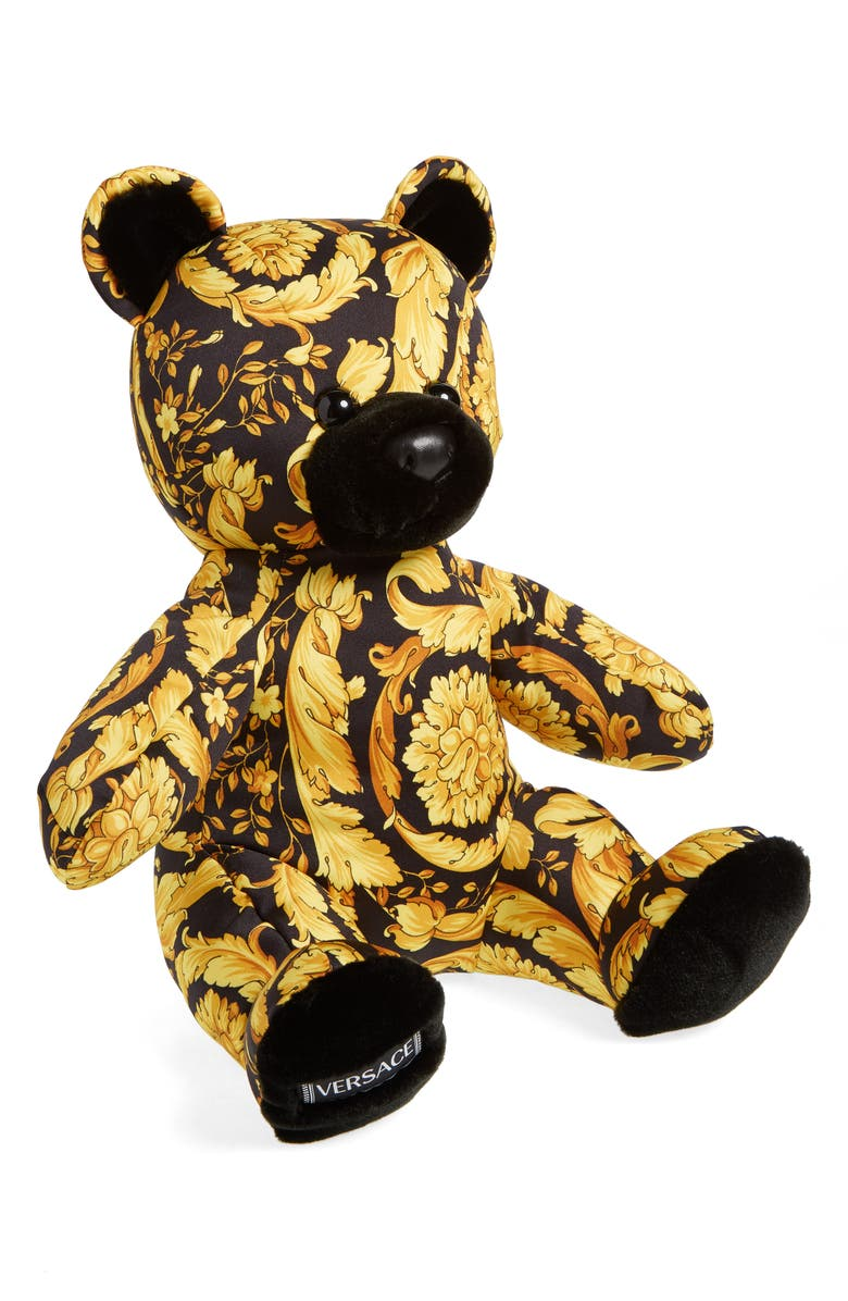 VERSACE Barocco Print Teddy Bear, Main, color, YELLOW MULTI